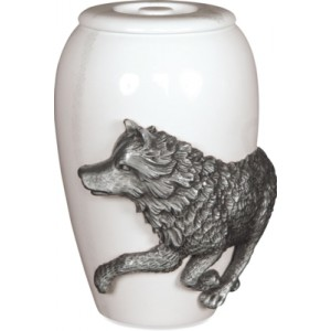 Pewter Cremation Ashes Funeral Keepsake  - Free Spirit Marble Effect Finish - The Wolf