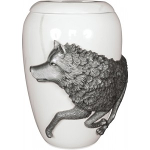 Pewter Cremation Ashes Funeral Urn - Free Spirit Marble Effect Finish - The Wolf (L) - *** 50% OFF ***