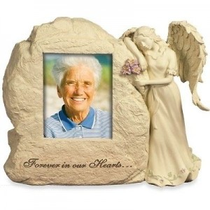 Rock Urn with Angel - Forever In Our Hearts Photo Frame - Weatherproof