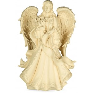 Serene Angel with Flowers (22 inch) Cremation Ashes Urn - Weatherproof (Outdoor / Indoor Use)