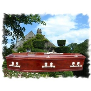 Mahogany Raised Lid Double Mould Coffin. Respectful Dignity