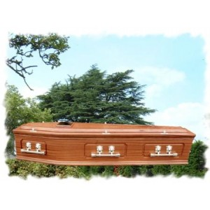 Solid Mahogany Raised Lid Panel Coffin. Special Prices Direct-To-The-Public