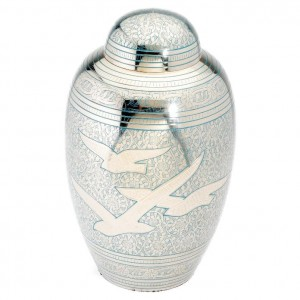 Peacefully Ascending Birds (Blue) Brass Cremation Ashes Urn