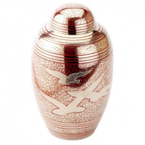 Peacefully Ascending Birds (Red) Brass Cremation Ashes Urn