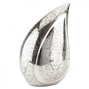 Brass Teardrop Cypress Design Adult Cremation Ashes Urn – Intricately Engraved