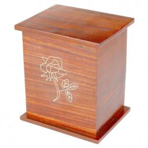 Rosewood (Hardwood) Cremation Ashes Casket - Infant / Child – Decorative Brass Rose Motif - FREE Engraving