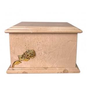 Superior Granite Natural Stone Cremation Ashes Casket – Handcrafted & Unique – Gold Rose Motif