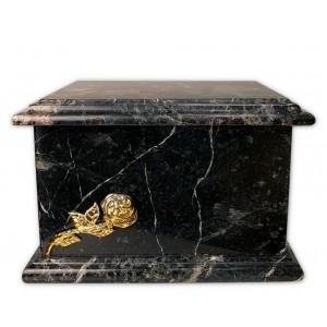 Superior Granite Natural Stone Cremation Ashes Casket – Resonate Luxury – Gold Rose Motif