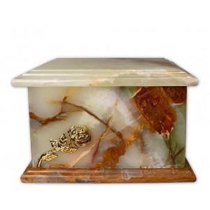 Superior Granite Natural Stone Cremation Ashes Casket – Elegant & Strong – Gold Rose Motif