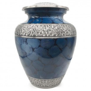 Aluminium Cremation Ashes Urn – Pacific Serenity – Intricately Hand Engraved
