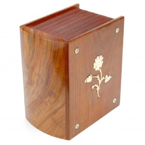 Rosewood (Hardwood) Cremation Ashes Casket – Book of Life - Decorative Embossed Brass Flower