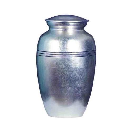 Premium Quality Hand Cast Aluminium Adult Cremation Ashes Urn - Silver
