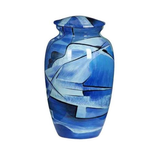 Premium Quality Hand Cast Aluminium Adult Cremation Ashes Urn - Shades of Blue