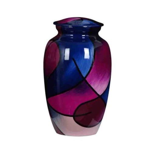 Premium Quality Hand Cast Aluminium Adult Cremation Urn - Abstract Pink / Blue Design