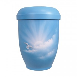 Hand Painted Biodegradable Cremation Ashes Urn -  Ascending Dove of Peace