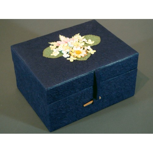 Navy Blue Chest Earthurn with Handmade Paper Flowered Lid - From Nature to Nature....