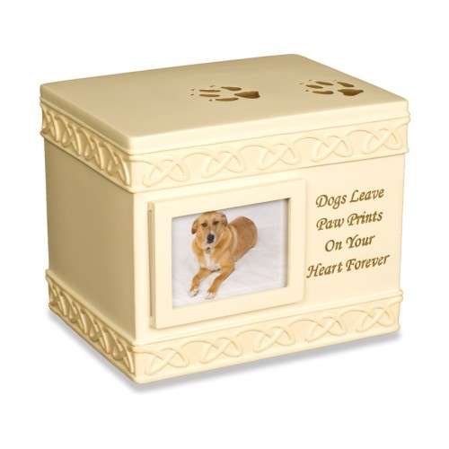 Weatherproof (Outdoor / Indoor Use) - Paw Prints (Box Design) Pet Dog Cremation Ashes Urn