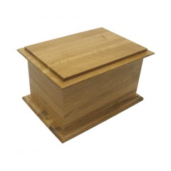Superior Antique Solid Plain Oak Cremation Ashes Casket