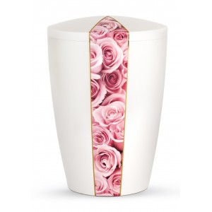 Floral Edition Biodegradable Cremation Ashes Funeral Urn – Pink Roses / Pearly Iridescent Surface