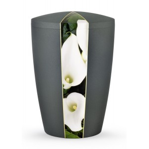 Floral Edition Biodegradable Cremation Ashes Funeral Urn – Calla Lily / Anthracite Surface