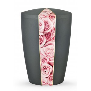 Floral Edition Biodegradable Cremation Ashes Funeral Urn – Pink Roses / Anthracite Surface