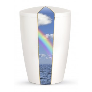 Heaven's Edition Biodegradable Cremation Ashes Funeral Urn – Rainbow / Pearly Iridescent Surface