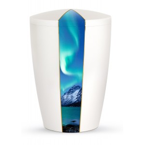 Heaven's Edition Biodegradable Cremation Ashes Funeral Urn – Aurora Borealis / Pearly Iridescent Surface