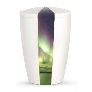 Heaven's Edition Biodegradable Cremation Ashes Funeral Urn – Light Display / Pearly Iridescent Surface