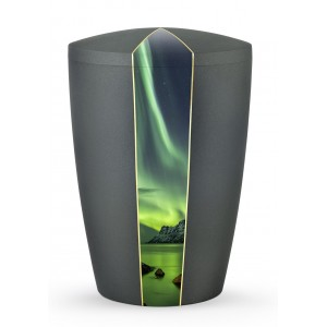 Heaven's Edition Biodegradable Cremation Ashes Funeral Urn – Northern Lights / Anthracite Surface
