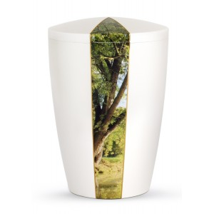 Nature Edition Biodegradable Cremation Ashes Funeral Urn – Mother of Pearl, Tree Motif