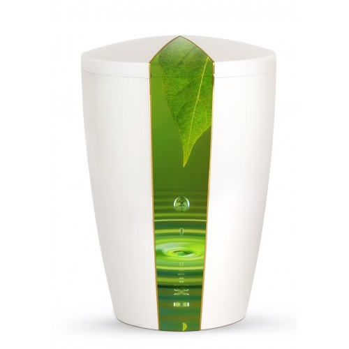 Nature Edition Biodegradable Cremation Ashes Funeral Urn – Mother of Pearl, Water Drops Motif