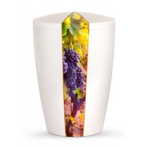 Nature Edition Biodegradable Cremation Ashes Funeral Urn – Mother of Pearl, Grapevine Motif