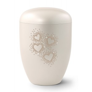 Karat Edition Biodegradable Cremation Ashes Funeral Urn – Mother of Pearl, Hearts Vintage Rose