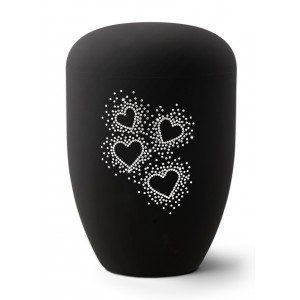 Karat Edition Biodegradable Cremation Ashes Funeral Urn – Deep Black, Hearts Crystal