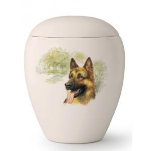Large Ceramic Cremation Ashes Urn – Pet Dog Animal – Hand Painted German Shepherd Motif