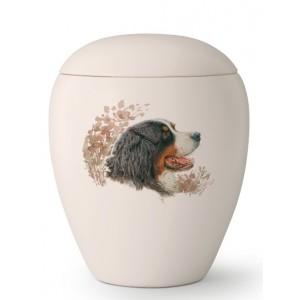 Large Ceramic Cremation Ashes Urn – Pet Dog Animal – Hand Painted Bernese Mountain Dog Motif