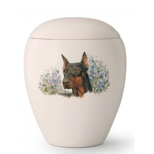Large Ceramic Cremation Ashes Urn – Pet Dog Animal – Hand Painted Doberman Motif