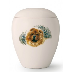 Large Ceramic Cremation Ashes Urn – Pet Dog Animal – Hand Painted Chow Chow Motif
