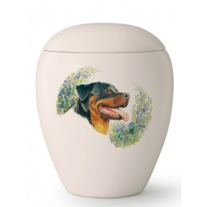 Large Ceramic Cremation Ashes Urn – Pet Dog Animal – Hand Painted Rottweiler Motif
