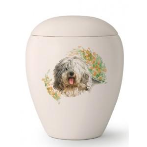 Large Ceramic Cremation Ashes Urn – Pet Dog Animal – Hand Painted Old English Sheepdog Motif