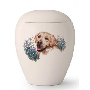 Large Ceramic Cremation Ashes Urn – Pet Dog Animal – Hand Painted Labrador Motif