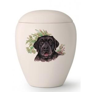 Large Ceramic Cremation Ashes Urn – Pet Dog Animal – Hand Painted Black Labrador Motif