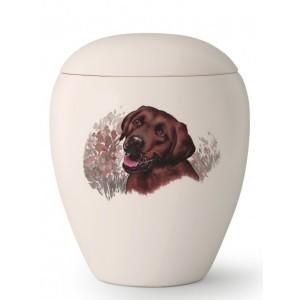 Large Ceramic Cremation Ashes Urn – Pet Dog Animal – Hand Painted Chocolate Labrador Motif
