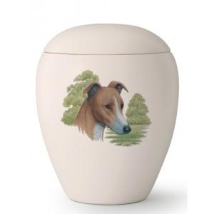 Large Ceramic Cremation Ashes Urn – Pet Dog Animal – Hand Painted Greyhound Motif