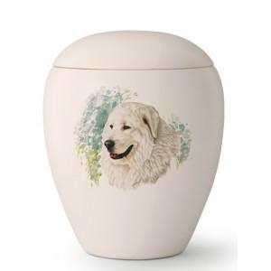 Large Ceramic Cremation Ashes Urn – Pet Dog Animal – Hand Painted Maremma Sheepdog Motif