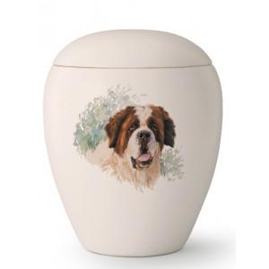 Large Ceramic Cremation Ashes Urn – Pet Dog Animal – Hand Painted St Bernard Motif