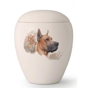 Large Ceramic Cremation Ashes Urn – Pet Dog Animal – Hand Painted Great Dane Motif