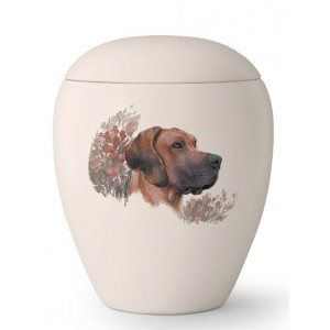 Large Ceramic Cremation Ashes Urn – Pet Dog Animal – Hand Painted Great Dane Gentle Giant Motif