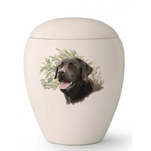 Large Ceramic Cremation Ashes Urn – Pet Dog Animal – Hand Painted Labrador Retriever Motif