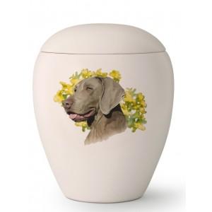 Large Ceramic Cremation Ashes Urn – Pet Dog Animal – Hand Painted Weimaraner Motif